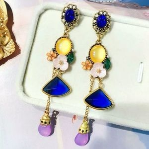 Betsey Johnson Flower and Gemstone Earrings